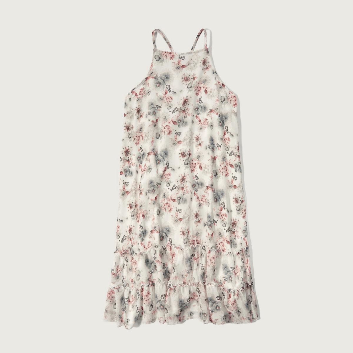 Chiffon Ruffle Hem Dress