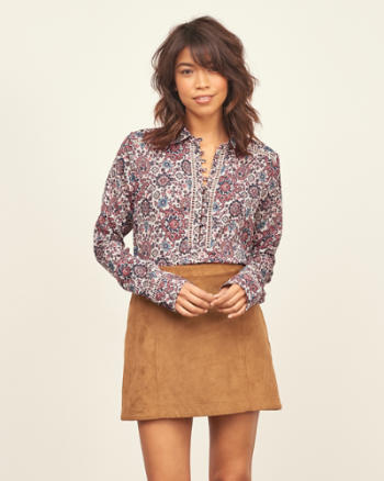 Womens Patterned Pullover Shirt