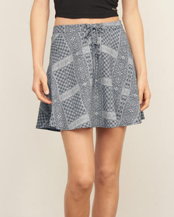 Womens Patterned Lace Up Skirt