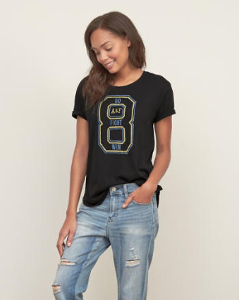 ANF Distressed Number Graphic Tee