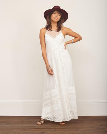 Womens Lace Panel Maxi Dress