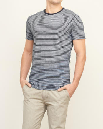 Mens Washed Effect Stripe Tee