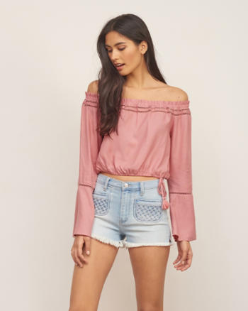 Womens Cropped Peasant Blouse