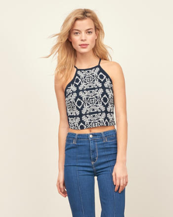 ANF Embroidered Slim Crop Top