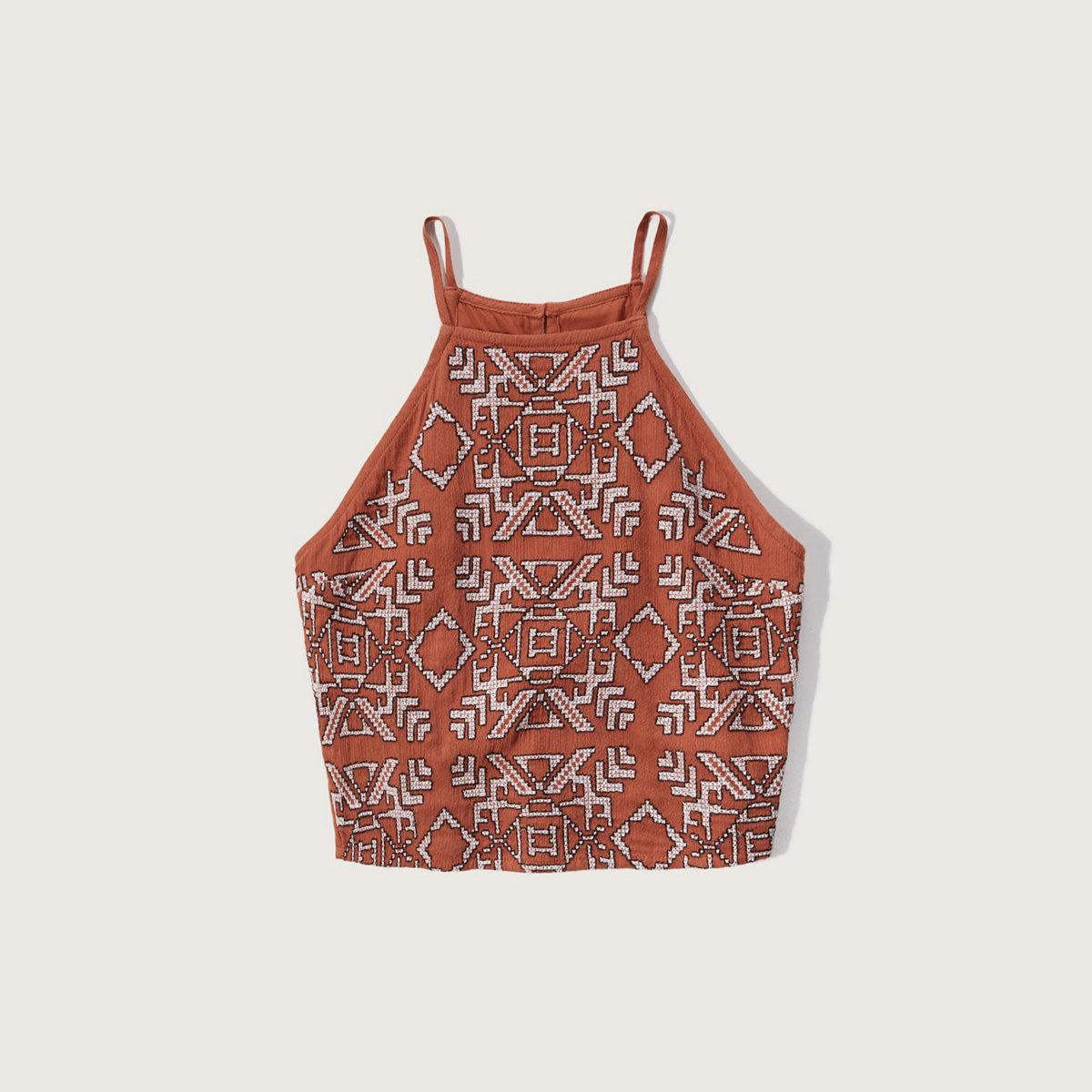 Embroidered Slim Crop Top