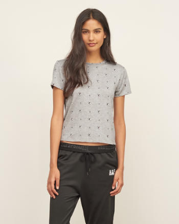 Womens Short Sleeve Cropped Tee