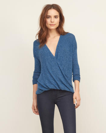 Womens Knit Wrap Front Tee