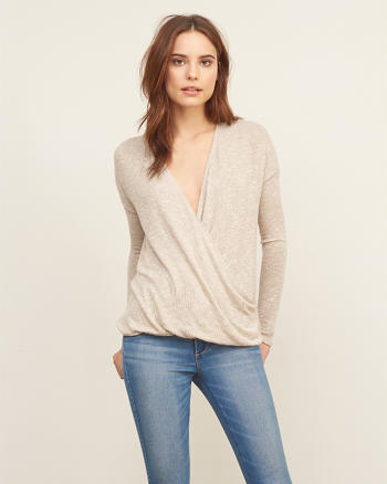 ANF Knit Wrap Front Tee