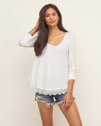 Womens Lace Hem Split Back Tee