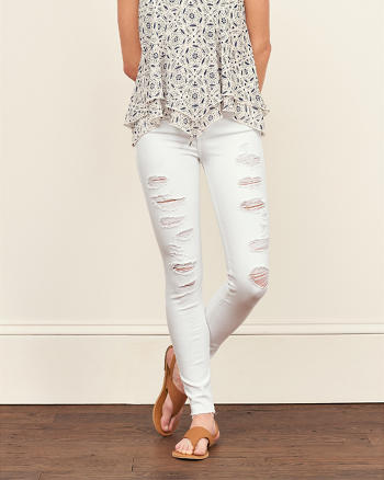 ANF Destroyed High Rise Super Skinny Jeans