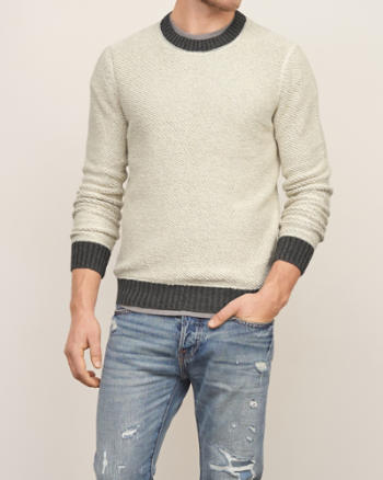 Mens Textural Crew Sweater