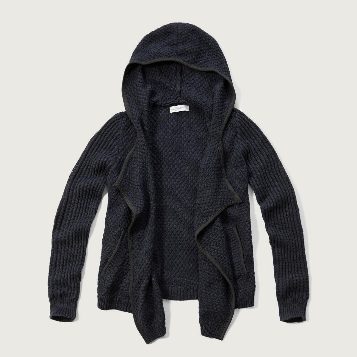 Hooded Open Sweater