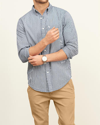 ANF Classic Fit Seersucker Shirt