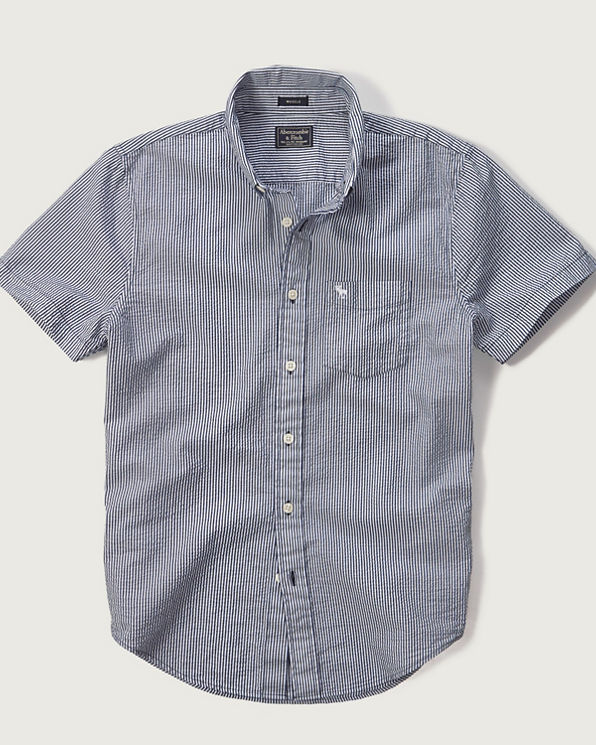 Mens seersucker shirt mens new arrivals for Mens seersucker shirts on sale