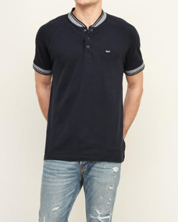 Mens Band Collar Baseball Henley