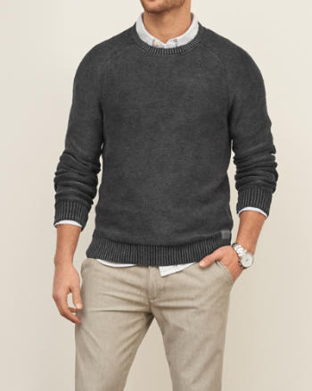 Mens Washed Out Crew Sweater
