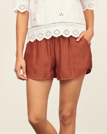 Womens Drapey Satin Shorts