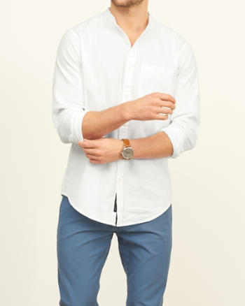 Mens Classic Fit Band Collar Nep Shirt