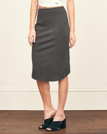 Womens Ribbed Midi Skirt