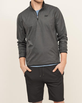 Mens Active Mock Neck Pullover