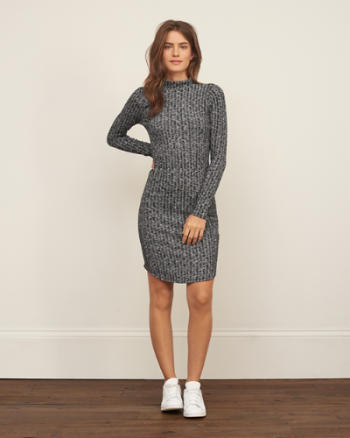 Womens Ribbed Mock Neck Bodycon Dress