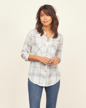 Womens Lightweight Plaid Shirt