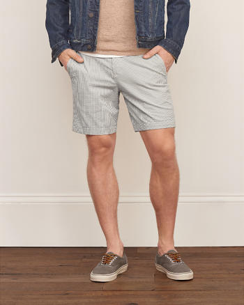 ANF A&F Seersucker Preppy Fit Shorts