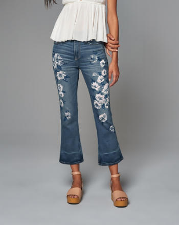 Womens High Rise Ankle Flare Jean