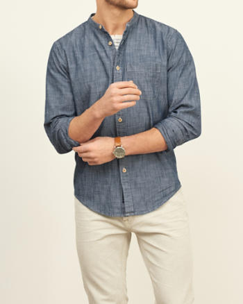 Mens Chambray Band Collar Shirt