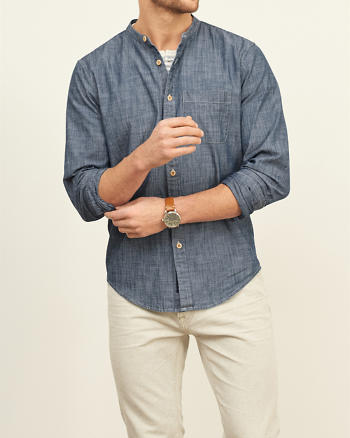 ANF Chambray Band Collar Shirt