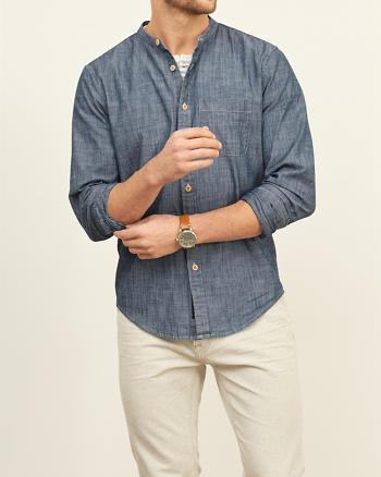 ANF Chambray Band Collar Shirt