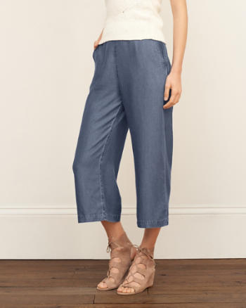 Womens Wide Leg Denim Pants