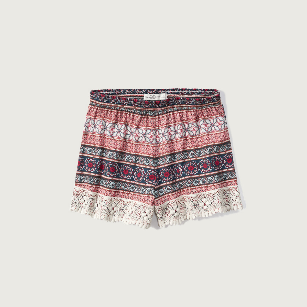 Lace Trim Printed Short