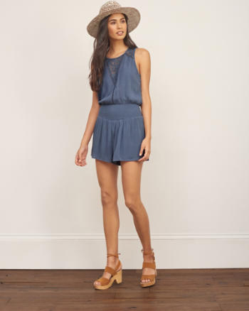 Womens Lace Panel Romper