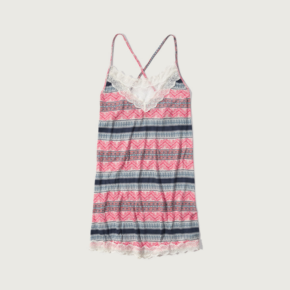 Patterned Lace Trim Sleep Dress