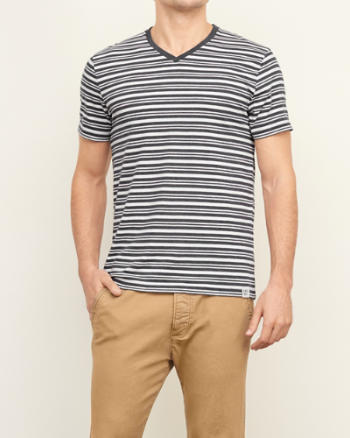 Mens Striped V Neck Tee