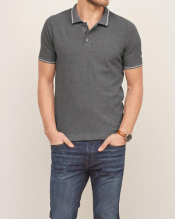 Mens Knit Tipped Polo