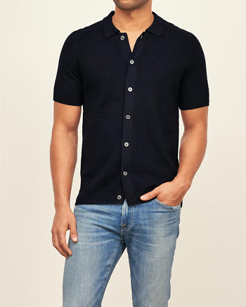 ANF Wool Button Down Polo