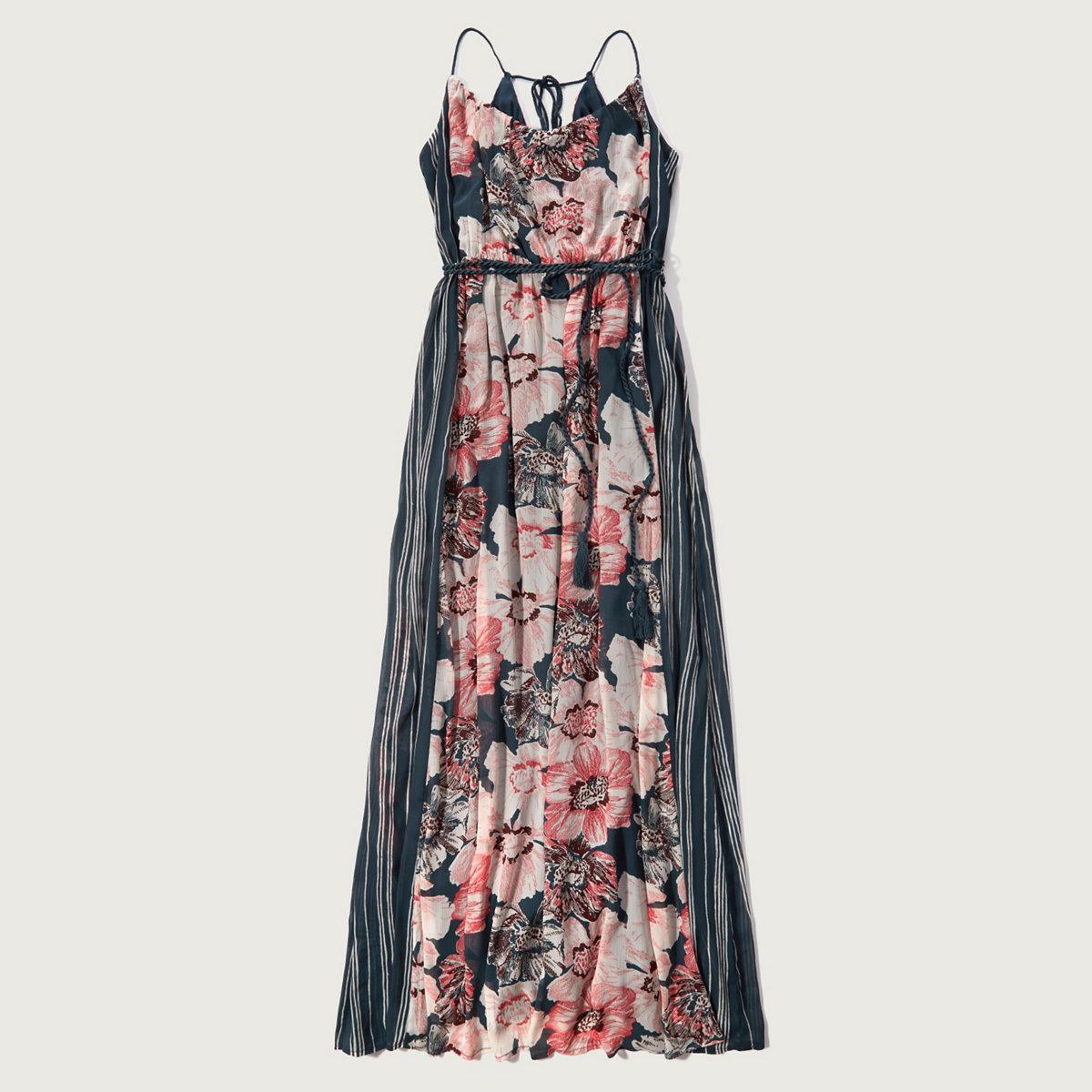 Patterned Chiffon Maxi Dress