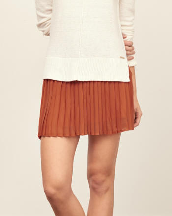 Womens Pleated Chiffon Skater Skirt