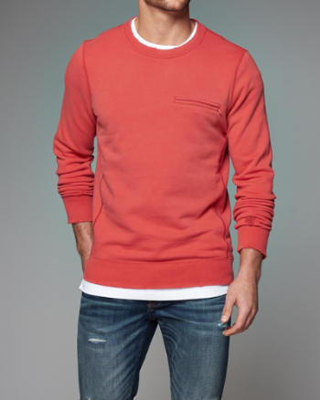 Mens Zip Pocket Crew Sweatshirt