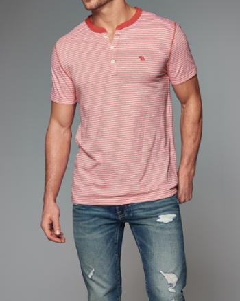 Mens Striped Henley