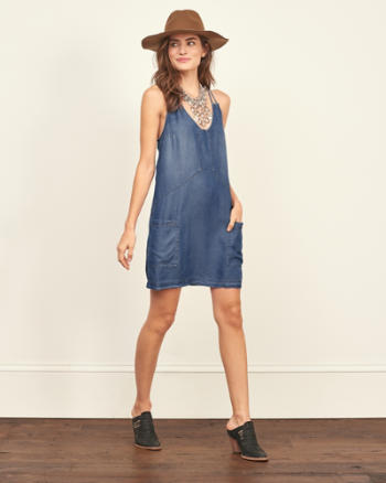 Womens Chambray Shift Dress