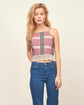 Womens Tie Back Cropped Tank