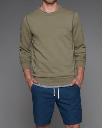 ANF Zip Pocket Crew Sweatshirt