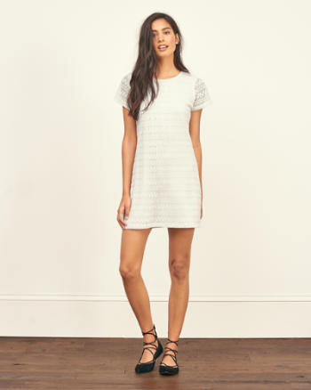 Womens Pointelle Shift Dress