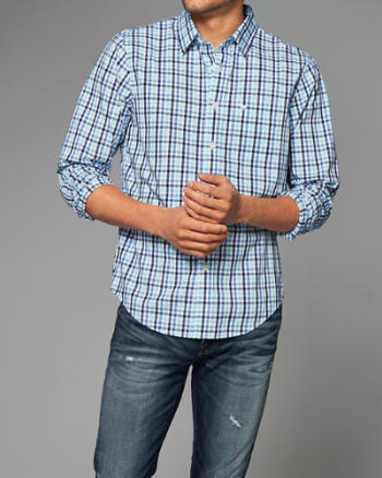 Mens Plaid Button-Up Shirt