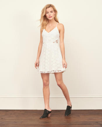 Womens Patchwork Lace Halter Dress