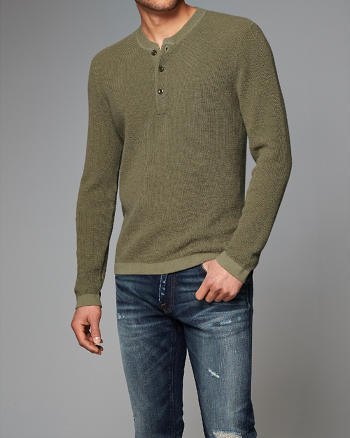 ANF Waffle-Knit Henley