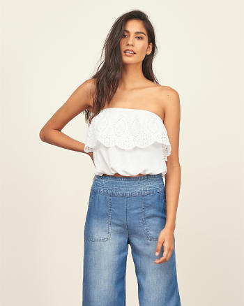 ANF Cropped Strapless Peasant Top